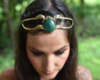 SALE was 138USD - Elven Fairy Pixie Brass Goddess Malachite Crystal Stone Leaf Tiara Crown Head Piece OOAK