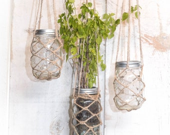 hanging mason jar planter container with hand knotted twine rope net basket and S hook