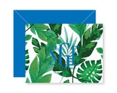 Personalized Folded Notecards  - PALM LEAF Collection - set of 10