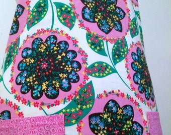 Amy Butler Floral and Pink Full Apron