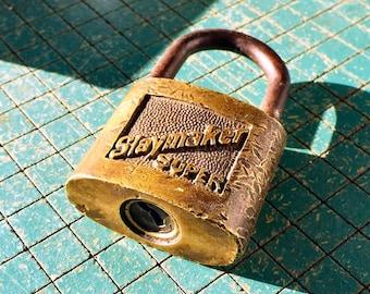 Vintage Slaymaker Super padlock , old brass body lock, mancave, lock collector, locksmith, no key