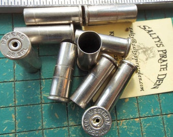 10 count, drilled Brass Bullet shells, nickel plated, casings with holes, 38 special,  spent ammo, steampunk, assemblage, found art jewelry