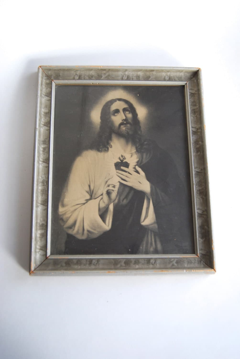 Wall Decor Jesus : Vintage jesus print framed wall art