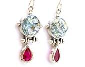 Pink zircon silver earrings with roman glass drop shape