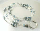 Petite ID Lanyard, Badge Holder - Silver and Blue Crystal Glass Beaded ID Lanyard