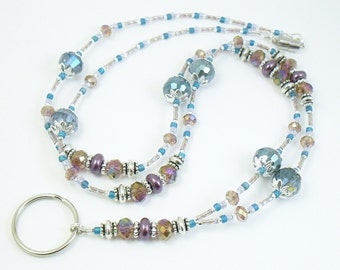 Beaded Lanyard - Turquoise and Purple Sparkly Beaded ID Badge Holder, ID Lanyard, Glasses Holder