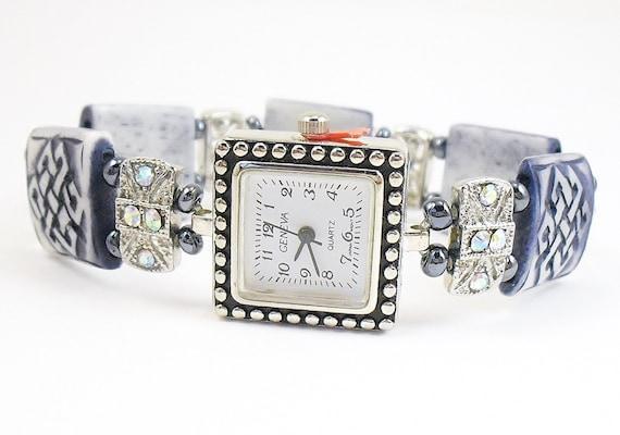 Blue Carved Bone and Aurora Borealis Swarovski Crystal Stretchy Bracelet Watch