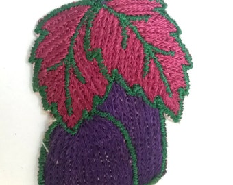 VINTAGE HANDMADE APPLIQUE patch, plums, purple plums, exotic fruit, kitschy linen, 1950s patch, embroidered art, hand made