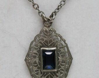 Vintage Kiddie Kraft Silver Tone and Blue Glass Necklace