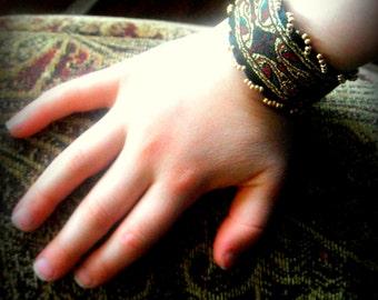 Bracelet, Children's Jewelry, Renaissance Style Cuff Bracelet with Beads CHILD SIZE