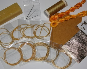 Deluxe Goldwork Starter Kit Purls/Spangles/Rococco/Checks/Gold Kid/Thread - Gilt