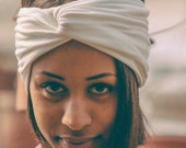 White turban headband in soft viscose jersey with a twist
