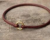 Dog tag collar - Round leather ID hanger collar