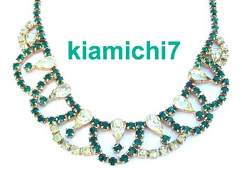 Emerald Green Necklace Pastel Peridot Rhinestone Necklace, Green Princess Party Bridal Jewelry