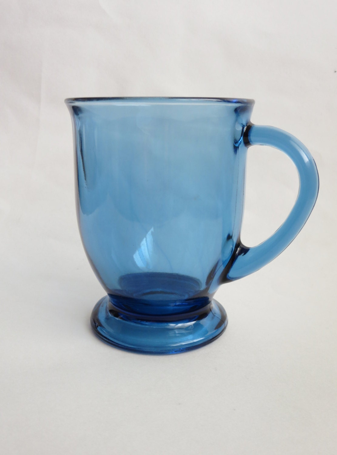 large glass coffee mug anchor hocking cobalt blue by klassic