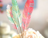 Feather Dreams cake topper decoration NO GLITTER