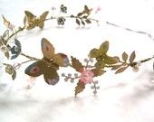 Ella spring halo headband bride brass gold pearl crystal butterfly flower cinderella