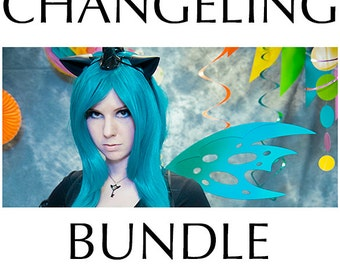 Changeling Bundle (Wig, Wings and Ears) - for Cosplay, Parties, Clubbing, Cons, Fun, Halloween Costume