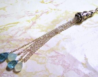 Sterling Silver Tassel Necklace with Teardrops Gems