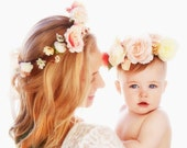 Mother daughter flower crowns 1st Birthday Baby photo shoot photo props -set of 2- Blush peach pink Flower crown headband hair accessory