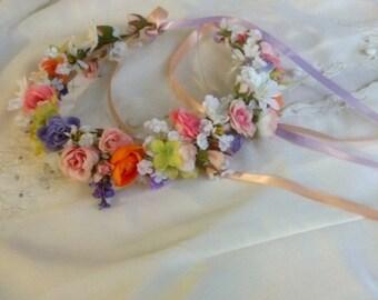 Wedding Wreath of flowers Summer Bridal silk Flower Crown fresh colors peach blush orange Lavender couronne fleur Wedding hair Accessories