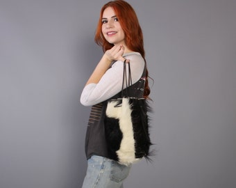 70s FURRY Cowhide POUCH Purse / Black & White Boho Bag
