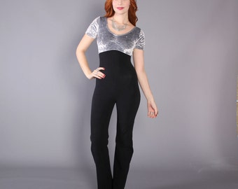 90s Fitted Crushed VELVET JUMPSUIT / 1990s Silver & Black Catsuit, xs
