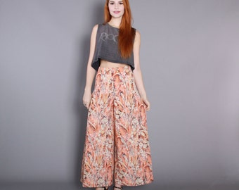 70s PALAZZO PANTS / 1970s High Waist ABSTRACT Floral Trousers xs s