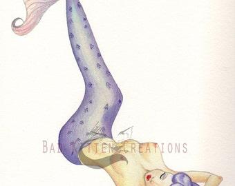 Fantasy Mermaid Pinup Art Print. Vintage inspired hand finished original art print.
