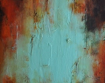 """Original Abstract Painting Teal Orange Brown Sunset ColorsTextured Wall Art 20x16"""""""