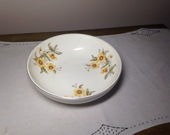 Mid Century Serving Bowl Modern Susie Santa Anita Ware YELLOW FLORAL Made in California 1950s