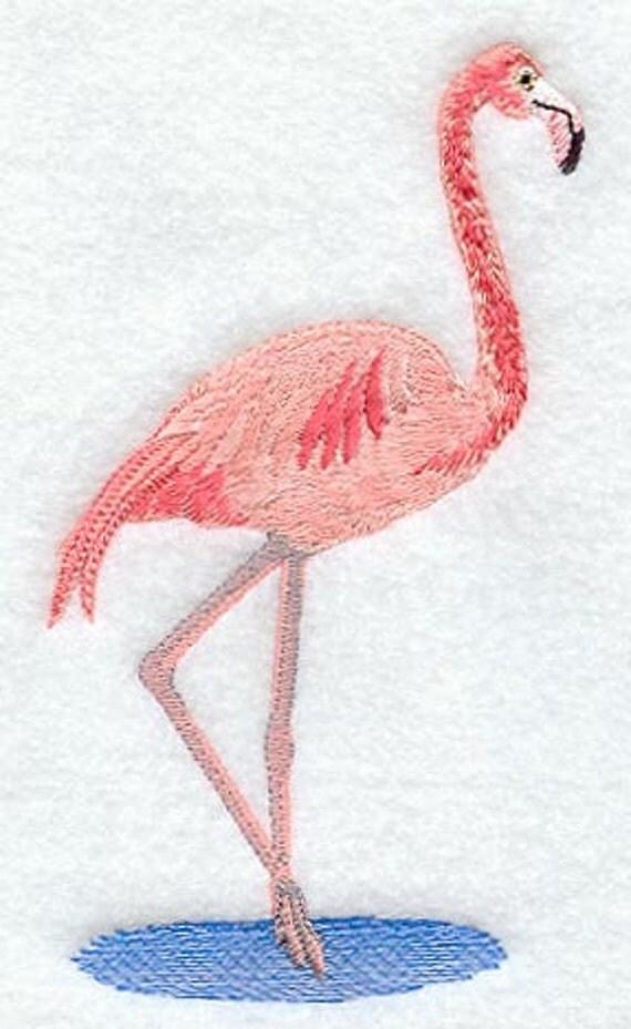 Flamingo Embroidered Terry Kitchen Towel Bathroom Hand Towel