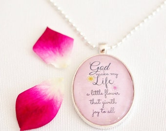 faith quote necklace, hymn quote Christian necklace, inspirational quote jewelry, pink pendant