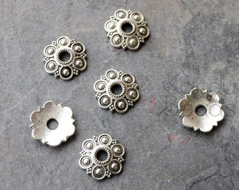 12 Silver Color Metal Decorative Flower Domed Spacer Bead Cap Beads  12.5 mm