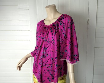 70s Angel Blouse in Fuchsia- 1970s / 1980s Peasant Blouse- Bell Sleeves- Plus Size- Pink / Purple / Magenta- Boho