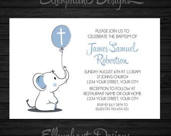 Baptism Invitation, christening, first communion, elephant, baby elephant, boy, blue, balloon, custom invite, digital file, you print
