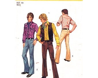 Mens Retro Shirt Vest & Pants Pattern Simplicity 5048 Western Shirt Yoked Trousers Mens Vintage 70s Sewing Pattern Size 44 UNCUT