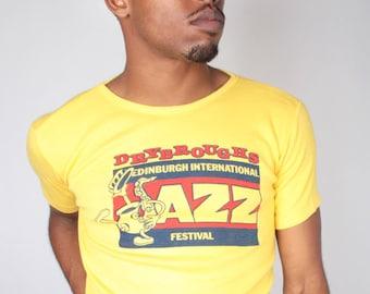 Vintage Deadstock 1982 Edinburgh Jazz Festival Mens Womens Unisex Slim Fit Yellow Tee T Shirt (sz M L)