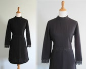 CLEARANCE Vintage 1960s Dress - Mod Black Scooter Dress with Lace Trim - 60s Bleeker Street Dress L XL