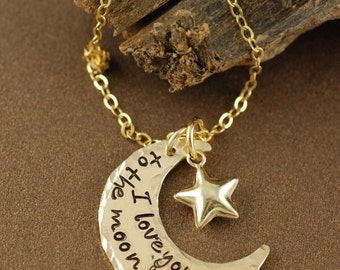 Crescent Moon & Star Necklace, Hand Stamped Moon and Back Necklace, Moon and Back Jewelry, Personalized Crescent Moon Necklace