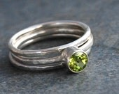 Rings, Peridot Rings, Peridot Stacking Rings, Silver Stack Rings, Made to Order