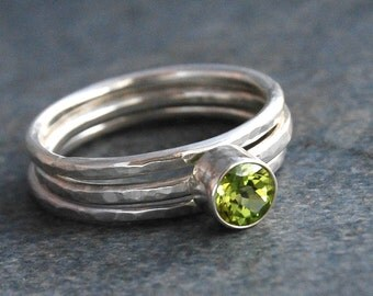 Rings, Peridot Rings, Peridot Stacking Rings, Silver Stack Rings, August Birthstone, Made to Order