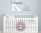 Elephant Wall Decal with Initial and Name - Baby Nursery Boy or Girl Jungle Animal Theme INA0072