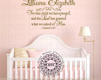 For this Child We Have Prayed Wall Decal with Baby Name - Personalized Scripture Verse for Baby Nursery or Child Bedroom Ba0511