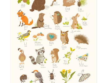 Baby Shower Gift - WOODLAND Forest Alphabet abc | 123- nursery wall art for kids
