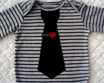 Baby Boy Valentine Tie Bodysuit-  Boys Valentine Shirt -Toddler Boy Valentines Day- Tie Clip