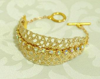 HALEY Gold Lace Bracelet, Rhinestone Bracelet, Bridal Bracelet, Bridesmaids, Vintage Bracelet, Gold Lace, Gold Filigree, Anniversary, Bridal