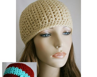 Crochet Hat Pattern Quick Fitted Cap Skull Cap Skater Boy Instant Download One Size Fits Most Bonus Flower Tutorial Spring Beanie Winter Hat