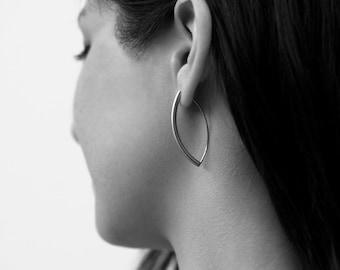 Earrings Long Curved in Stainless Steel Tubing