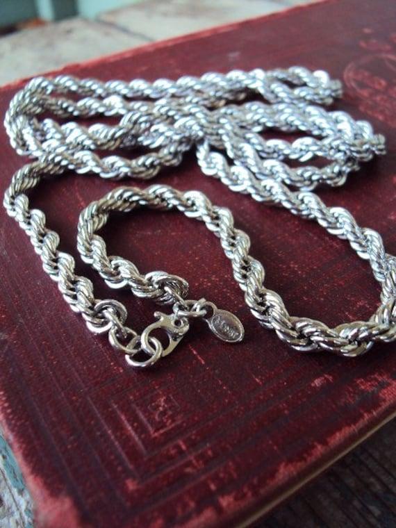 Vintage 70 S Monet Long Necklace Rope Chain Versatile
